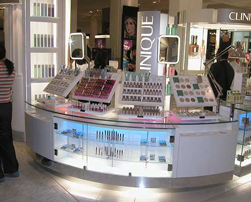 Clinique Product Display with LED Lighting system