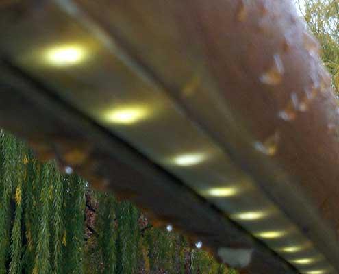 LED light engine in fixture installed for handrail lighting