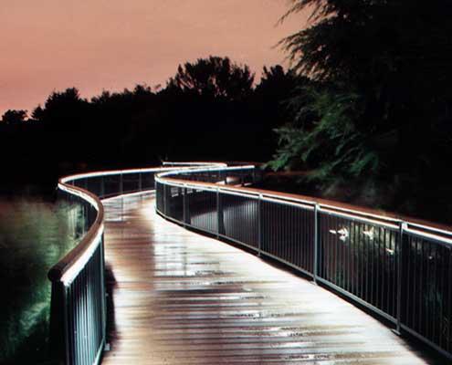 LED light engine installed into handrail
