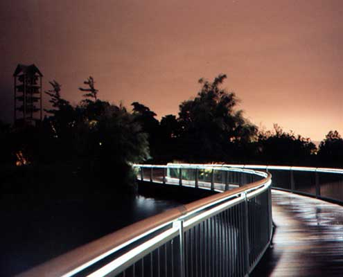 LED light engine installed into handrail - night shot