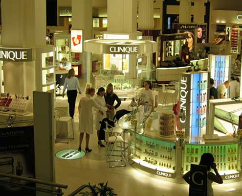 Final Clinique Product Display with LED Lighting system